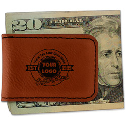 Logo & Tag Line Leatherette Magnetic Money Clip (Personalized)
