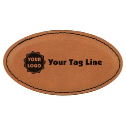 Logo & Tag Line Leatherette Oval Name Badge with Magnet (Personalized)