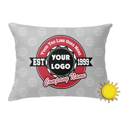 Logo & Tag Line Outdoor Throw Pillow (Rectangular) (Personalized)