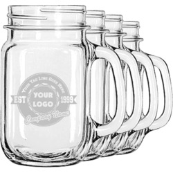 Logo & Tag Line Mason Jar Mugs (Set of 4) (Personalized)