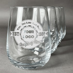 Logo & Tag Line Stemless Wine Glasses (Set of 4) (Personalized)