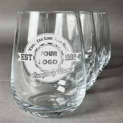 Logo & Tag Line Wine Glasses (Stemless Set of 4) (Personalized)