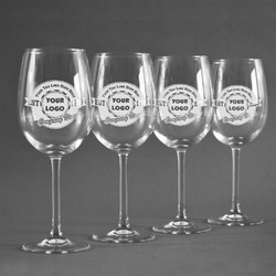 Logo & Tag Line Wine Glasses (Set of 4) (Personalized)