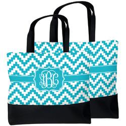 Pixelated Chevron Beach Tote Bag (Personalized)