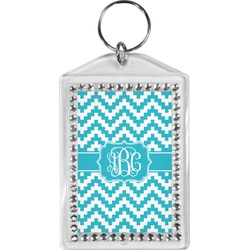 Pixelated Chevron Bling Keychain (Personalized)