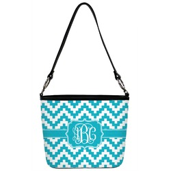 Pixelated Chevron Bucket Bag w/ Genuine Leather Trim (Personalized)