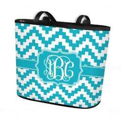 Pixelated Chevron Bucket Tote w/ Genuine Leather Trim (Personalized)