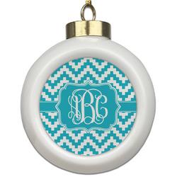 Pixelated Chevron Ceramic Ball Ornament (Personalized)