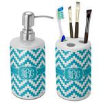 Pixelated Chevron Bathroom Accessories Set (Ceramic) (Personalized)