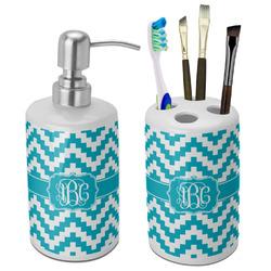 Pixelated Chevron Ceramic Bathroom Accessories Set (Personalized)
