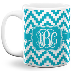Pixelated Chevron 11 Oz Coffee Mug - White (Personalized)