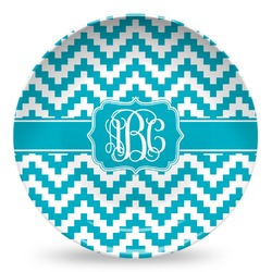 Pixelated Chevron Microwave Safe Plastic Plate - Composite Polymer (Personalized)