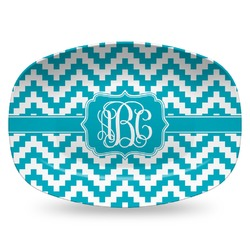Pixelated Chevron Plastic Platter - Microwave & Oven Safe Composite Polymer (Personalized)