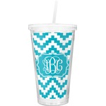 Pixelated Chevron Double Wall Tumbler with Straw (Personalized)