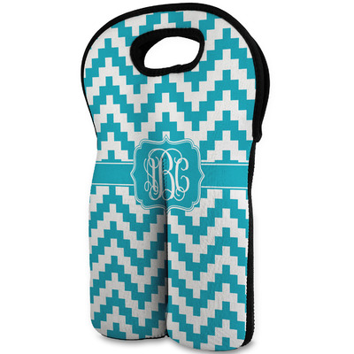 Pixelated Chevron Wine Tote Bag (2 Bottles) (Personalized)