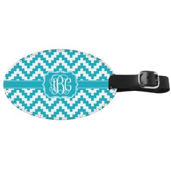 Pixelated Chevron Genuine Leather Oval Luggage Tag (Personalized)