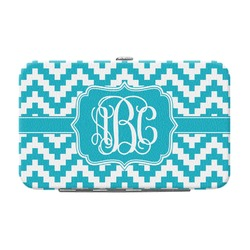 Pixelated Chevron Genuine Leather Small Framed Wallet (Personalized)
