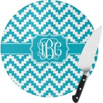 Pixelated Chevron Round Glass Cutting Board (Personalized)