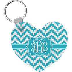 Pixelated Chevron Heart Keychain (Personalized)