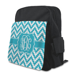 Pixelated Chevron Kid's Backpack with Customizable Flap (Personalized)