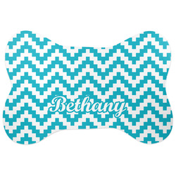 Pixelated Chevron Bone Shaped Dog Food Mat (Personalized)