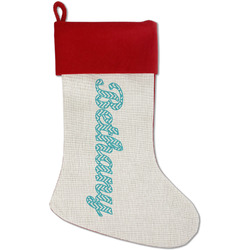 Pixelated Chevron Red Linen Stocking (Personalized)