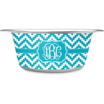 Pixelated Chevron Stainless Steel Pet Bowl (Personalized)