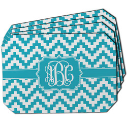 Pixelated Chevron Dining Table Mat - Octagon w/ Monogram