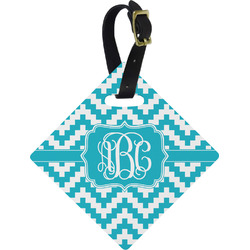 Pixelated Chevron Diamond Luggage Tag (Personalized)