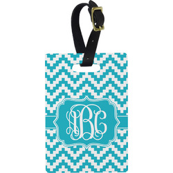 Pixelated Chevron Rectangular Luggage Tag (Personalized)