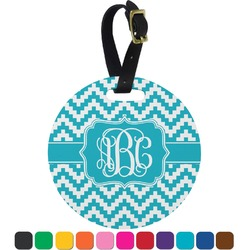 Pixelated Chevron Round Luggage Tag (Personalized)