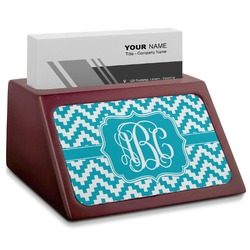Pixelated Chevron Red Mahogany Business Card Holder (Personalized)