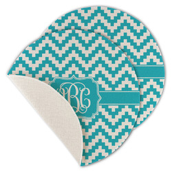 Pixelated Chevron Round Linen Placemat (Personalized)