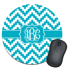 Pixelated Chevron Round Mouse Pad (Personalized)