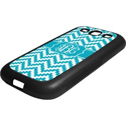 Pixelated Chevron Rubber Samsung Galaxy 3 Phone Case (Personalized)