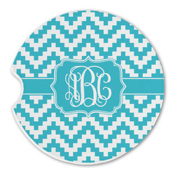 Pixelated Chevron Sandstone Car Coasters (Personalized)