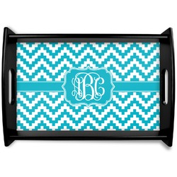 Pixelated Chevron Black Wooden Tray (Personalized)