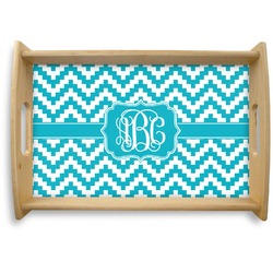 Pixelated Chevron Natural Wooden Tray (Personalized)