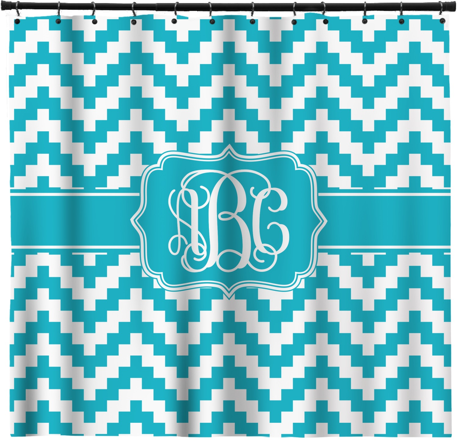 Pixelated Chevron Shower Curtain Personalized
