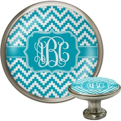 Pixelated Chevron Cabinet Knob (Silver) (Personalized)