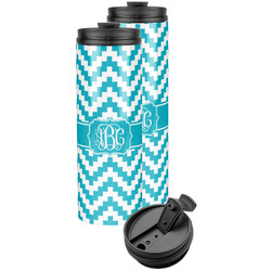 Pixelated Chevron Stainless Steel Skinny Tumbler (Personalized)