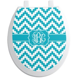 Pixelated Chevron Toilet Seat Decal (Personalized)