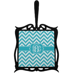 Pixelated Chevron Trivet with Handle (Personalized)