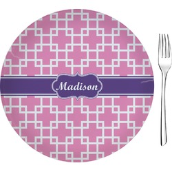 "Linked Squares Glass Appetizer / Dessert Plates 8"" - Single or Set (Personalized)"