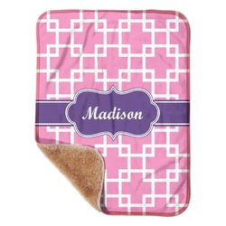 "Linked Squares Sherpa Baby Blanket 30"" x 40"" (Personalized)"