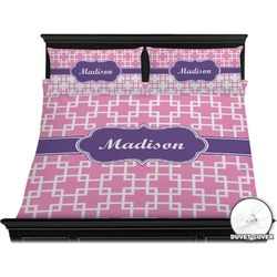Linked Squares Duvet Cover Set - King (Personalized)