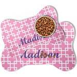 Linked Squares Bone Shaped Dog Food Mat (Personalized)