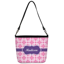 Linked Squares Bucket Bag w/ Genuine Leather Trim (Personalized)