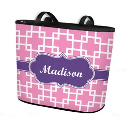 Linked Squares Bucket Tote w/ Genuine Leather Trim (Personalized)