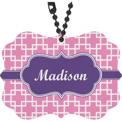 Linked Squares Rear View Mirror Charm (Personalized)